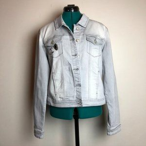 Kensie Light Wash Jean Jacket with Buttons - Size Large